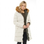 Brave Soul Womens Mineral Reversible Parker With Puffer Jacket Reverse Khaki/Stone