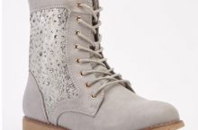 Encrusted Lace Mesh Combat Boots